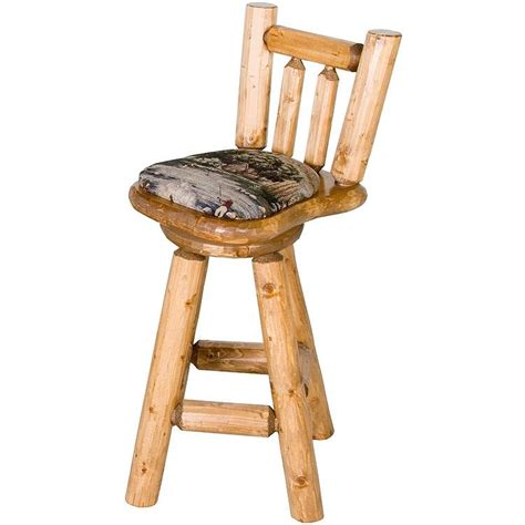 Pine Log Bar Stools by Pine Log Seating Upholsteredswivel Bar Stool Log03130