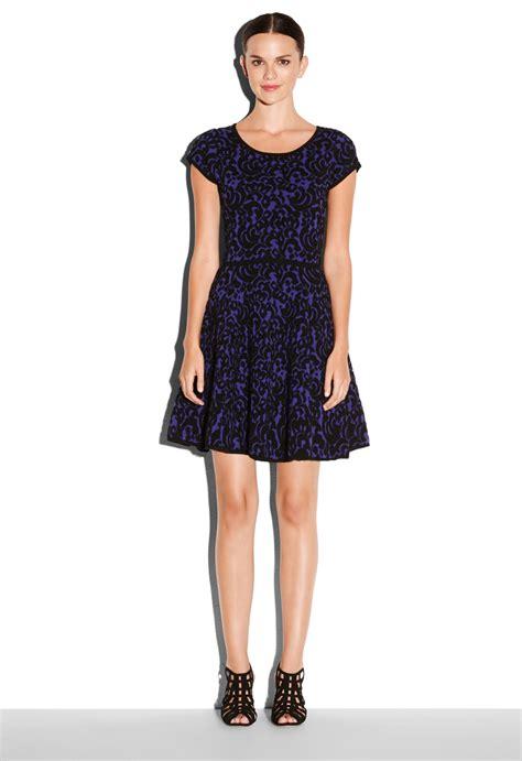 lace swing dress milly textured lace swing dress in purple lyst