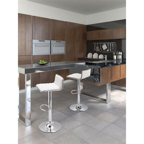 zuo modern soda adjustable height bar stool white zuo zuo equation adjustable height white cushioned bar stool