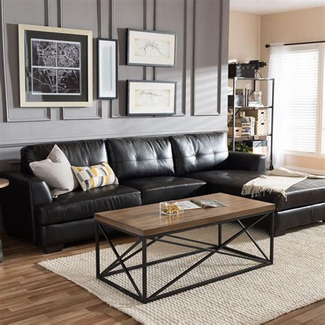 dobson sectional sofa baxton studio dobson contemporary black bonded leather