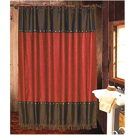 cheap western shower curtains cheyenne faux tooled leather and fringe shower curtain red