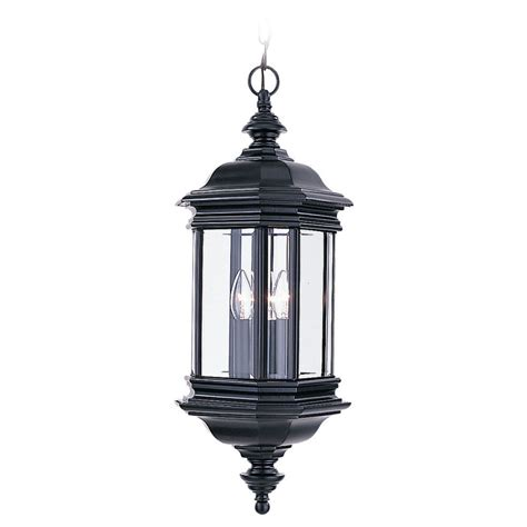 Outdoor Lighting At Lowes Shop Sea Gull Lighting 25 In H Black Outdoor Pendant Light At Lowes