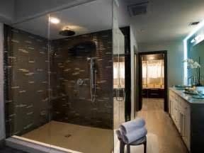 Hgtv Master Bathroom Designs Master Bathroom With Brown Tiled Shower The Pairing Of Brown Tile And Glass Walls Gives The