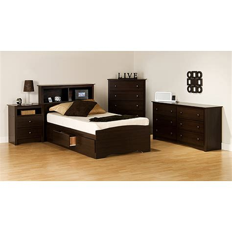 twin bed furniture set prepac edenvale collection 5 piece bedroom set walmart com