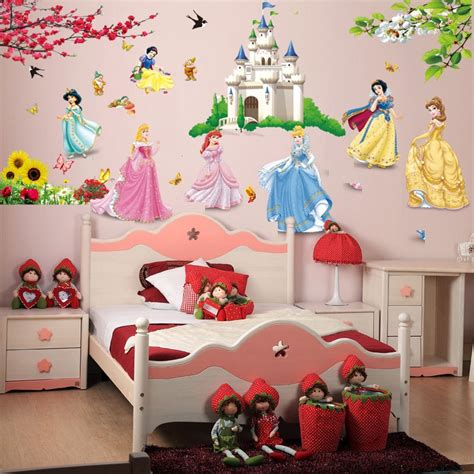 stickers for rooms removable diy seven princess birds flower castle wall stickers home decor 5102 for rooms