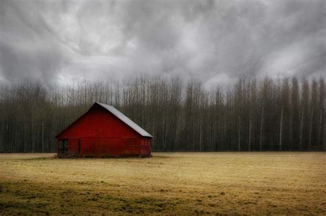 red barn  landscape photo dark storm clouds