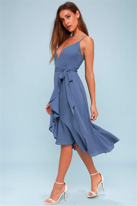 cute wrap dress midi dress blue dress ruffled dress