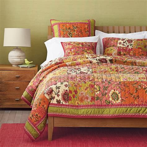 Patchwork Bedding Set - 2015 vintage florals dazzle sunset quilt cotton handmade