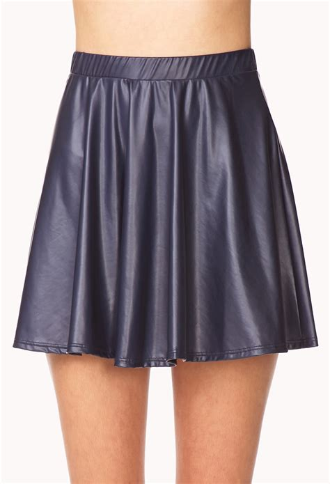 forever 21 faux leather a line skirt in blue navy lyst