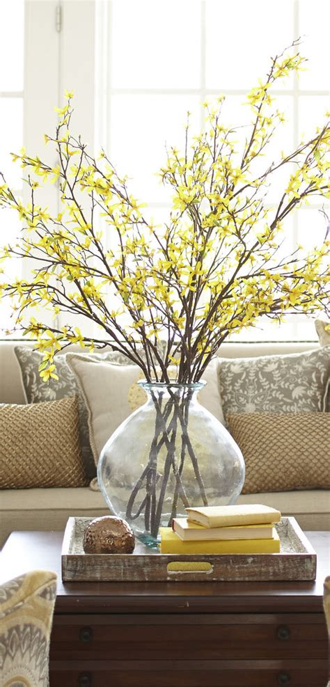branch home decor faux forsythia branch spring home decor home decor pinterest spring decorating and