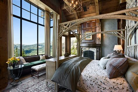 rustic country bedroom ideas spotlight on a rustic canopy bed