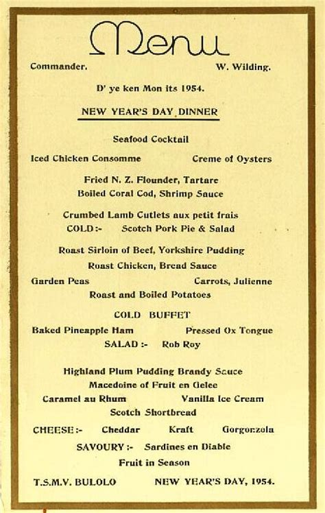 new year dinner menu burns philp shipping company tsmv bulolo malaita i ii