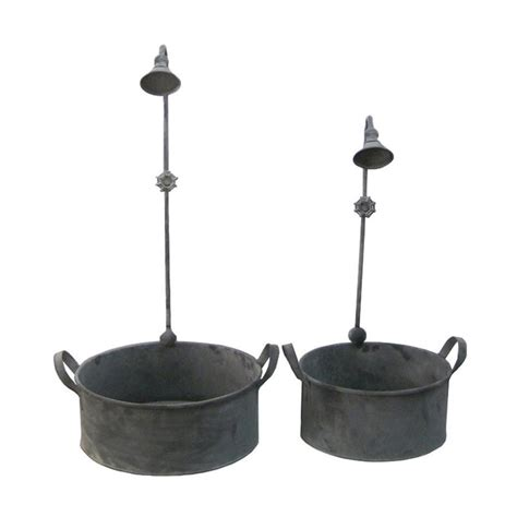 Galvanized Planters Lowes by Shop Cheung S Galvanized Gray Metal Low Bowl Planter At