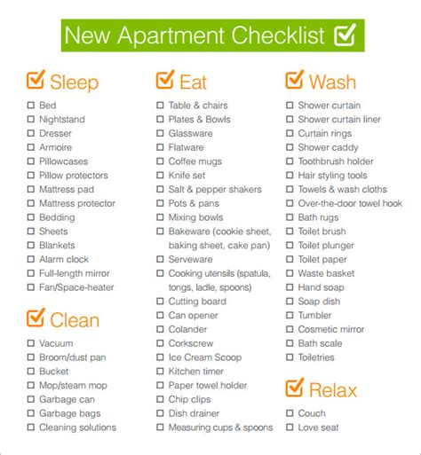first house checklist sle new apartment checklist new apartment checklist 1