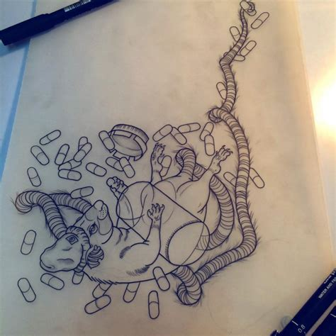 pill tattoo outline tailed falling mouse with a lot of pills