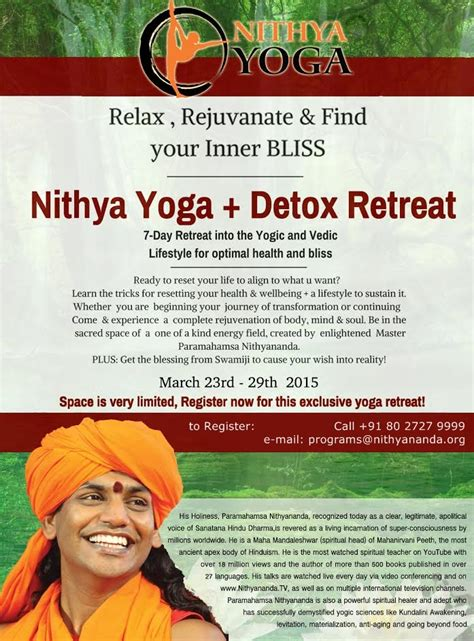 Health Detox Retreat by Nithya Detox Retreat Nithyananda Sangha S