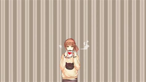 coffee stripe wallpaper anime anime girls coffee stripes wallpapers hd