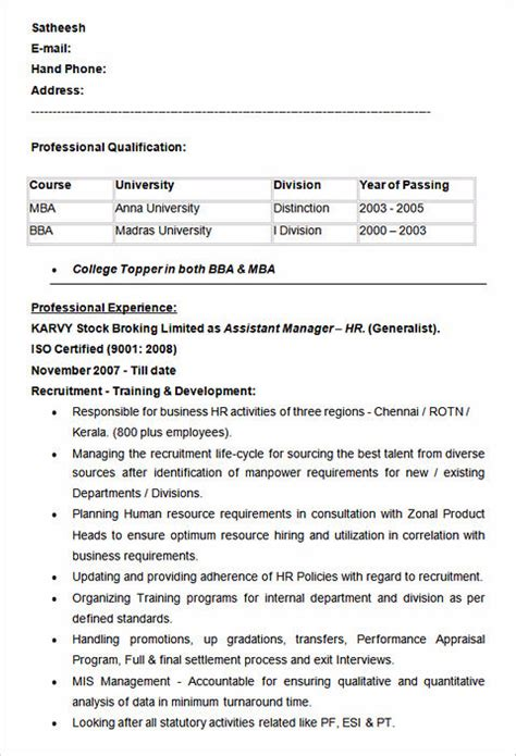 sle resumes for hr professionals sle resume for hr manager 28 images human resources