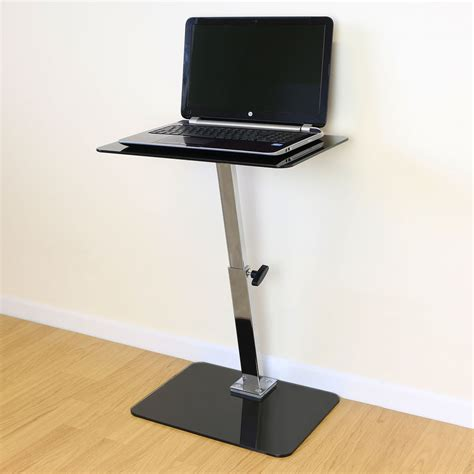 Black Glass Adjustable Laptop Notebook Table Stand Bed Laptop Desk Bed