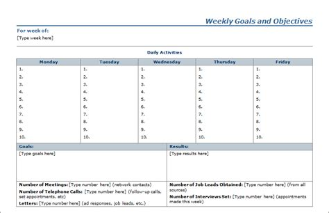 template for goals and objectives weekly goals objectives planner sheet blue layouts