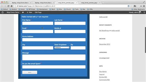 layout form wordpress form design sle ninja forms layout styles extension youtube