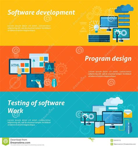 web layout testing tools program development banner set stock vector image 53419115