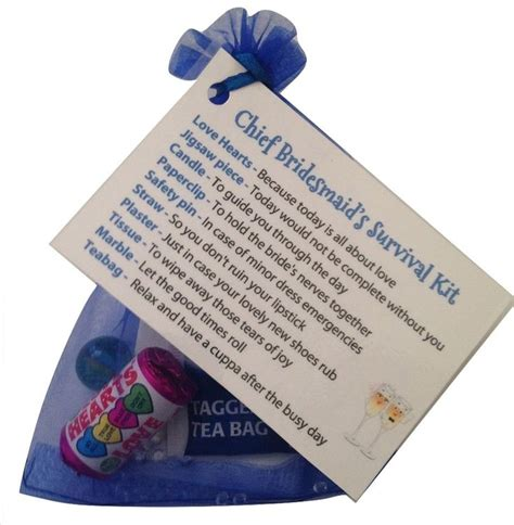 chief bridesmaid survival kit thank you gift card