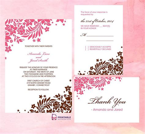 wedding invitation downloadable templates wedding invitation free wedding invitation templates