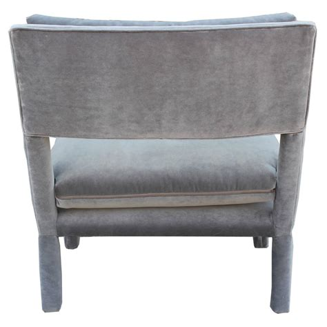 Gray Parsons Chair by Fabulous Pair Of Milo Baughman Style Parsons Grey Velvet