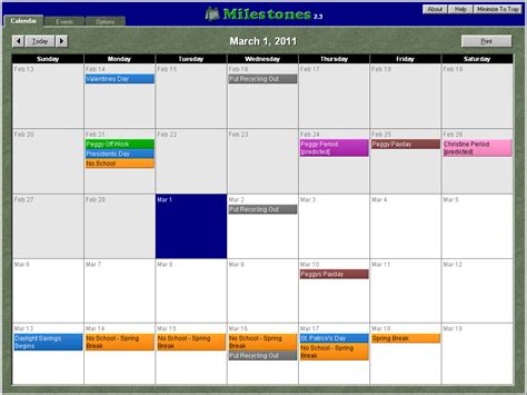 Calendar Software Milestones Calendar Software With Menstrual Calendar