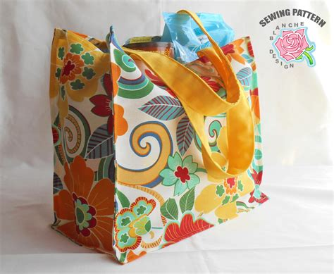 pattern for a tote bag to sew reusable grocery bag sewing pattern reusable by designblanche