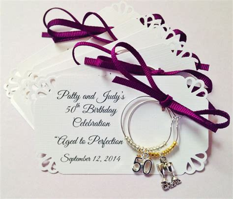 birthday themed wine charms 50th birthday party and 50th anniversary wine charm favors