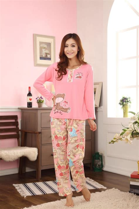 Get Look In Primp Pyjamas 2 by 2017 Autumn Winter Pajama Sets Cotton Nightgowns