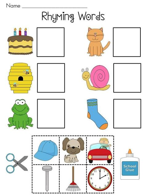 printable toddler words free printable cut and paste rhyming worksheets for