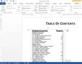 ms word 2007 table of contents levels
