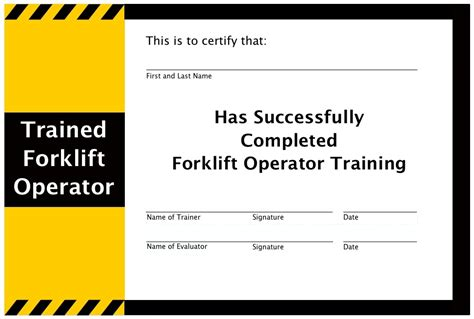 Forklift Certificate Template Invitation Template Forklift Certification Card Template Xls