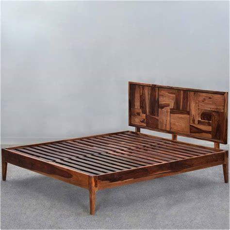 modern pioneer solid wood platform bed frame w