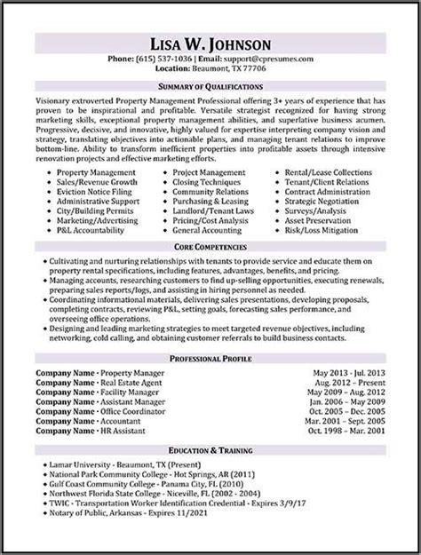 sample assistant property management resume property manager resume