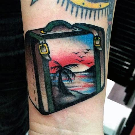 suitcase tattoo designs 75 travel tattoos for adventure design ideas