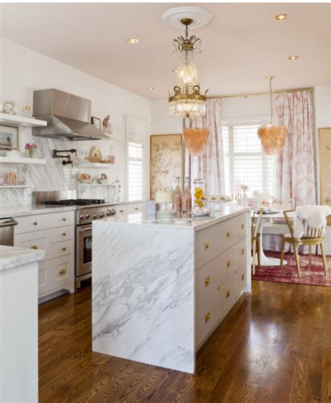 marble island kitchen waterfall kitchen island inspiration