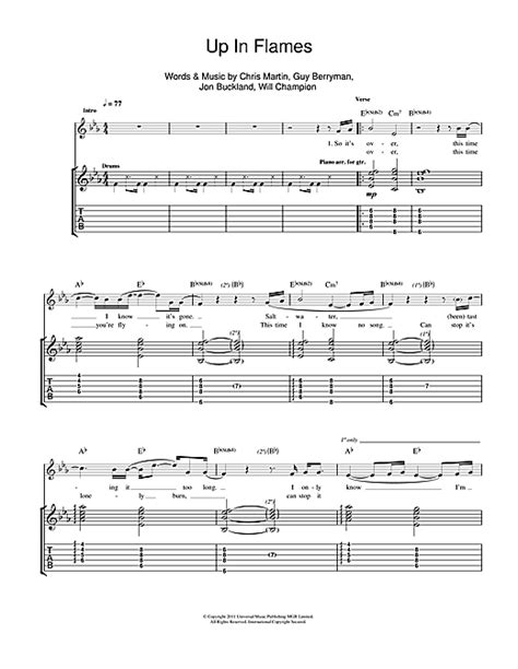 coldplay up in flames lyrics coldplay up in flames sheet music