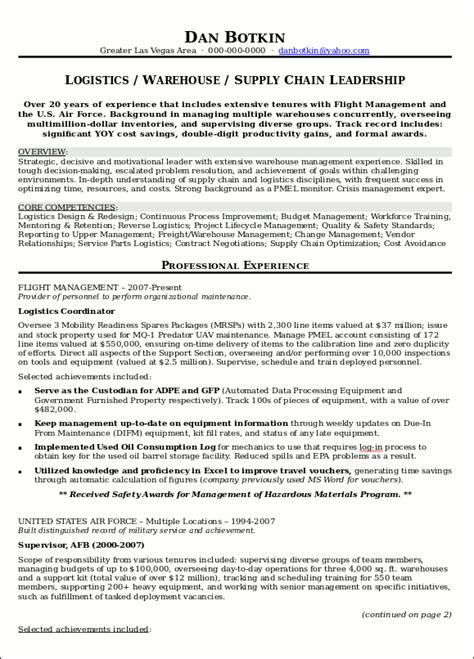 supply chain executive resume format resume sle 17 supply chain management resume career resumes