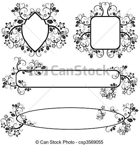 cornici gotiche clipart vettoriali di cornici floreale modello set di