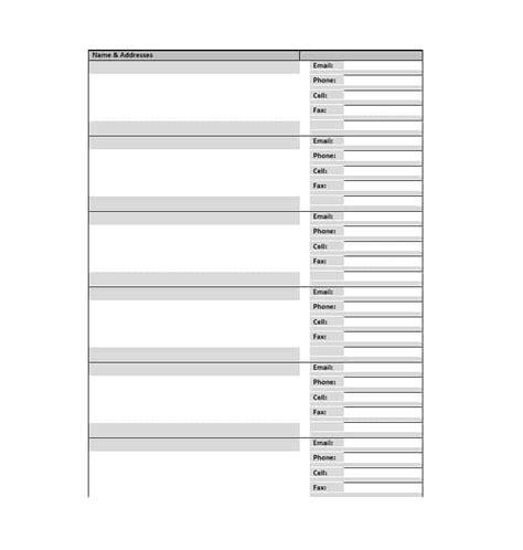 phonebook template 40 printable editable address book templates 101 free