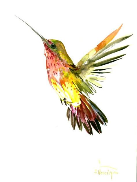 unique watercolor rising hummingbird tattoo design