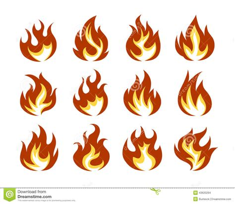 vector fire flame icon set in flat style stock vector