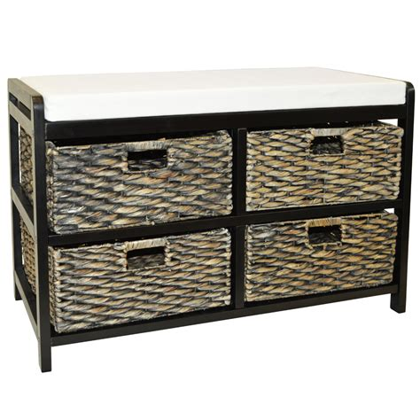 storage bench with baskets black storage bench with baskets