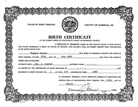 West Virginia Vital Records Birth Certificate The Cheyne Family Website Madge