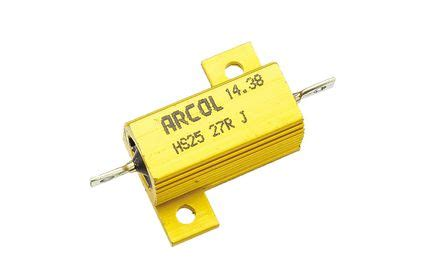 arcol resistors hs25 hs25 27r j arcol hs25 series aluminium housed axial panel mount resistor 27ω 177 5 25w arcol