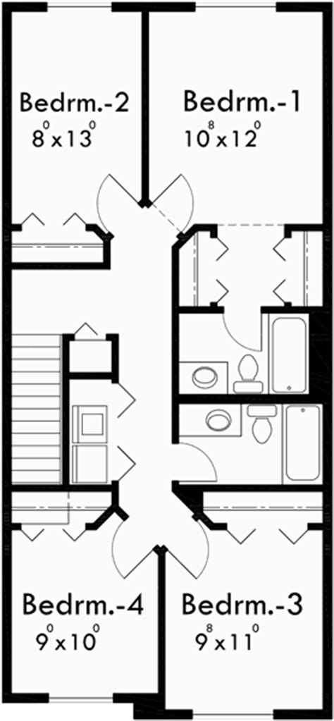 20 wide house plans narrow lot house plan affordable house plan 4 bedroom 10118